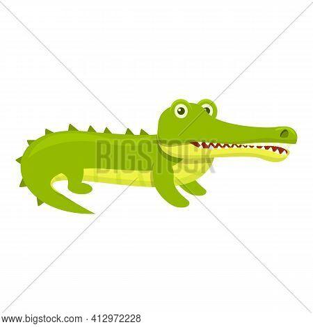 Serious Crocodile Icon. Cartoon Of Serious Crocodile Vector Icon For Web Design Isolated On White Ba