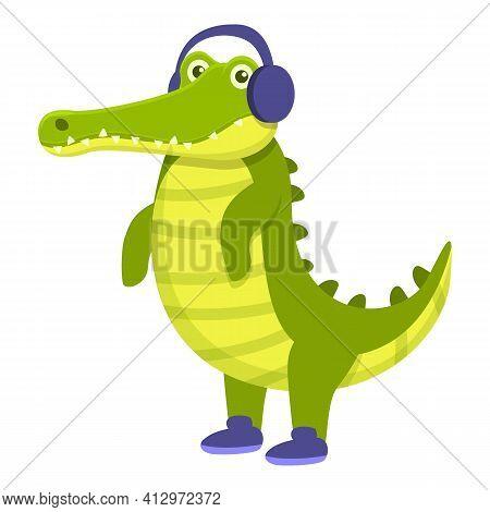 Crocodile With Headphones Icon. Cartoon Of Crocodile With Headphones Vector Icon For Web Design Isol