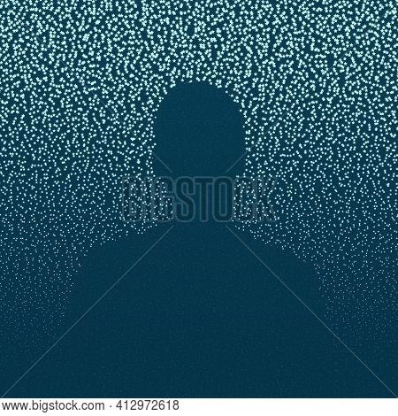 Abstract illustration of starry background with a human silhouette, light blue stars on dark blue sky, space concept