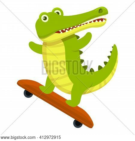 Crocodile Skateboard Icon. Cartoon Of Crocodile Skateboard Vector Icon For Web Design Isolated On Wh
