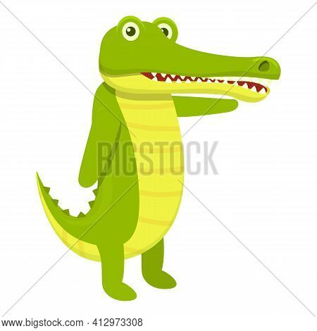 Character Crocodile Icon. Cartoon Of Character Crocodile Vector Icon For Web Design Isolated On Whit