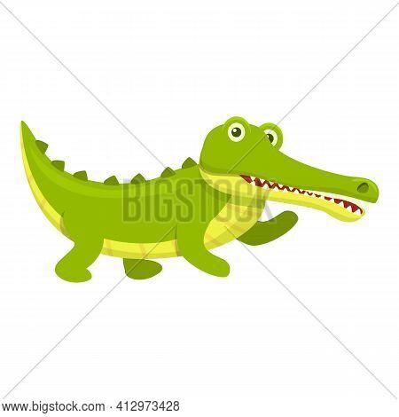 Wild Crocodile Icon. Cartoon Of Wild Crocodile Vector Icon For Web Design Isolated On White Backgrou