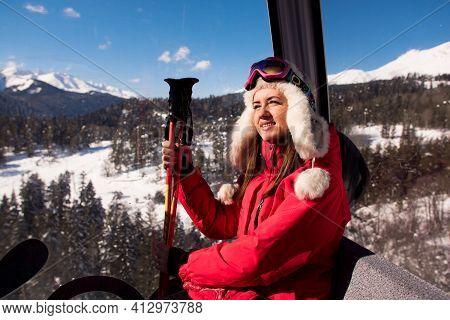 Ski Lift, Skiing, Ski Resort - Happy Skier On Ski Lift.