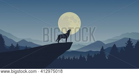 Wolf Howls At Full Moon Blue Nature Landscape