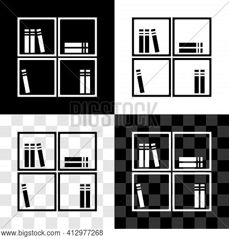 Set Shelf With Books Icon Isolated On Black And White, Transparent Background. Shelves Sign. Vector