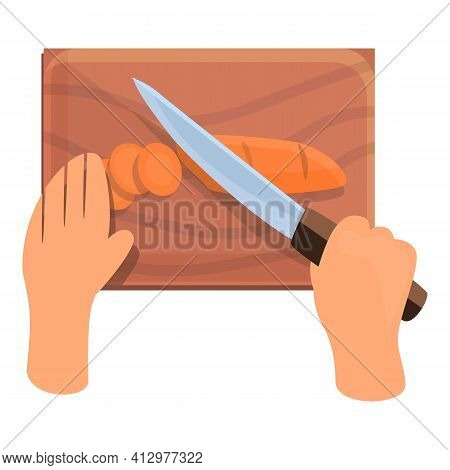 Cutting Food Prepare Icon. Cartoon Of Cutting Food Prepare Vector Icon For Web Design Isolated On Wh