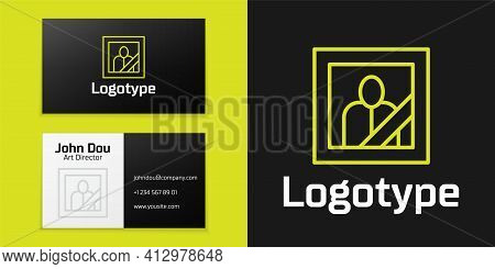 Logotype Line Mourning Photo Frame With Black Ribbon Icon Isolated On Black Background. Funeral Cere