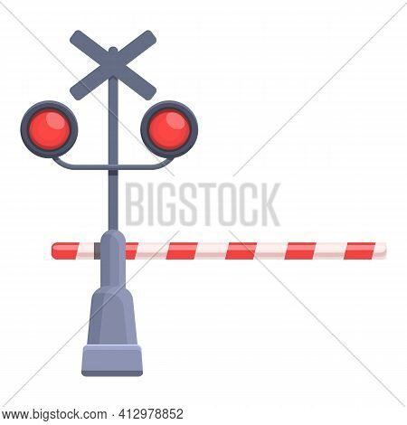 Railroad Barrier Traffic Lights Icon. Cartoon Of Railroad Barrier Traffic Lights Vector Icon For Web