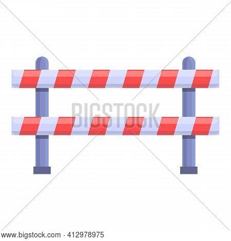 Railroad Block Barrier Icon. Cartoon Of Railroad Block Barrier Vector Icon For Web Design Isolated O