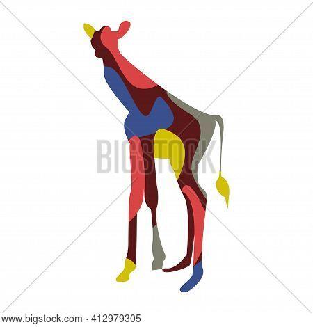 Minimalistic Abstract Giraffe Pattern Background. Colorful Giraffe Silhouette For Design T Shirt Pri