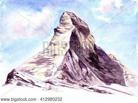 The Matterhorn. A Symbol Of Switzerland. Watercolor Hand Drawn Illustration
