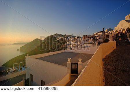 Santorini, Greece - July 30, 2019 : Panoramic View Of Fira In Santorini Greece