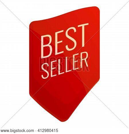 Best Seller Flag Icon. Cartoon Of Best Seller Flag Vector Icon For Web Design Isolated On White Back
