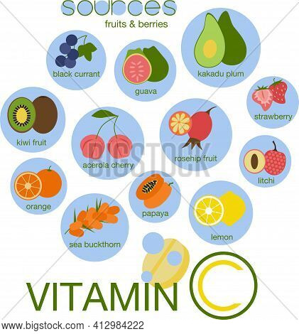 Vitamin C Sources. Fruits And Berries Set. In Fizzy Drink Hand Drawn Concept. Black Currant, Guava,