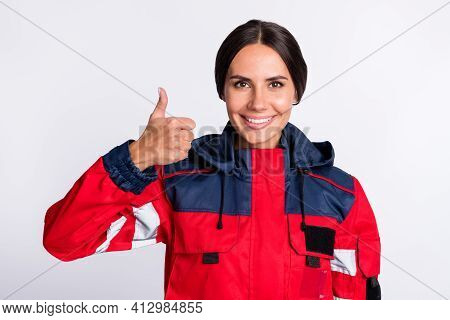 Photo Of Cheerful Shiny Young Urgency Woman Wear Red Jacket Smiling Showing Thumb Up Isolated White