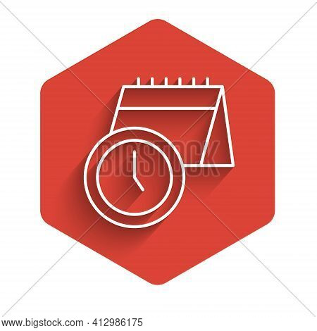 White Line Calendar And Clock Icon Isolated With Long Shadow. Schedule, Appointment, Organizer, Time