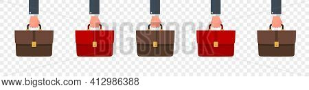 Suitcase In Hand. Briefcase Icons Collection. Briefcases Flat Style. Portfolio Icons. Vector Illustr