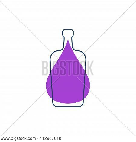 Modern Abstract Illustration With Bottle Liquor With Purple Blob. Linear Outline Sign. Logo Illustra