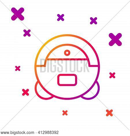 Color Line Robot Vacuum Cleaner Icon Isolated On White Background. Home Smart Appliance For Automati