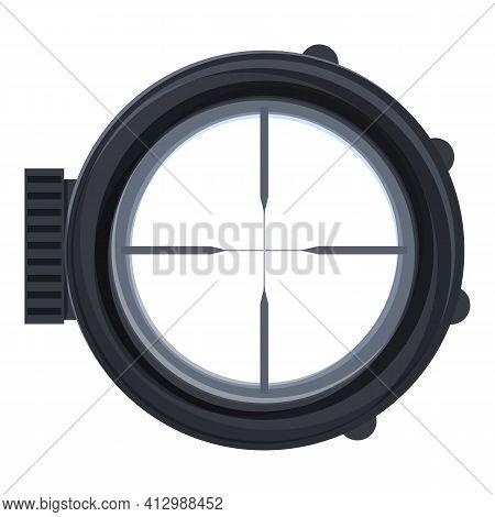 Telescopic Sight Shot Icon. Cartoon Of Telescopic Sight Shot Vector Icon For Web Design Isolated On