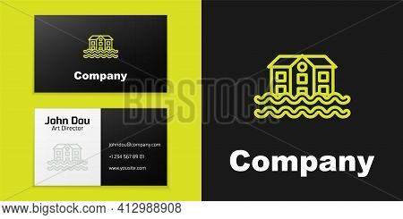 Logotype Line House Flood Icon Isolated On Black Background. Home Flooding Under Water. Insurance Co