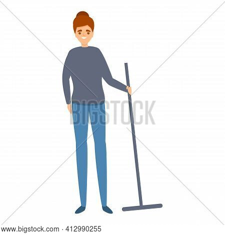 Woman Take Mop Icon. Cartoon Of Woman Take Mop Vector Icon For Web Design Isolated On White Backgrou