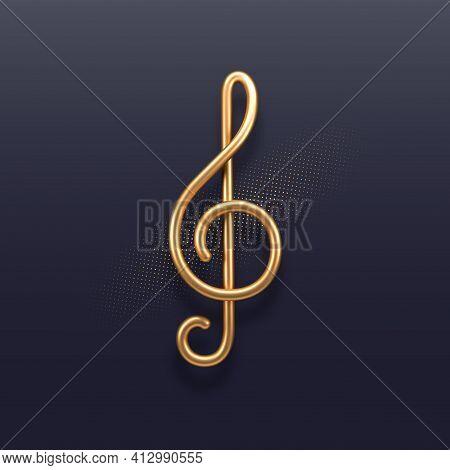 Realistic Golden Metal Treble Clef On A Dark Background. 3d Golden Musical Symbol - Decoration Eleme