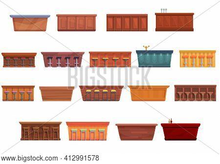 Bar Counter Icons Set. Cartoon Set Of Bar Counter Vector Icons For Web Design