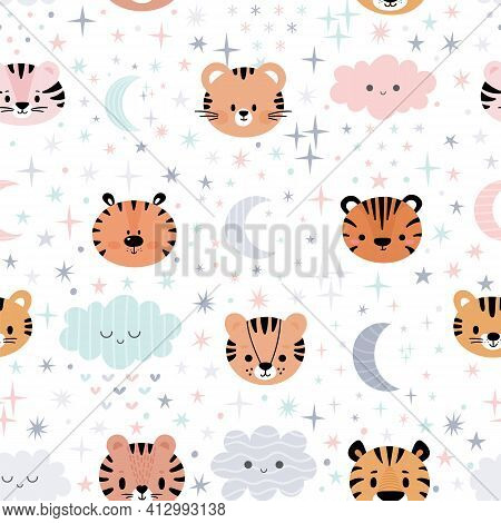 Cute Seamless Pattern For Kids With Cartoon Little Tigers. Children Background With Moon, Stars And
