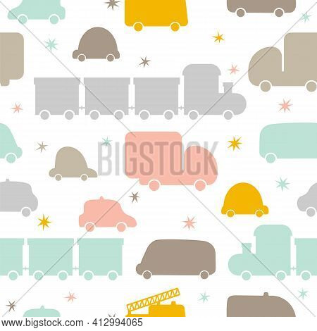 Cute Seamless Pattern With Transport. Hand Drawn Cars. Cartoon Background For Children. Nursery Styl