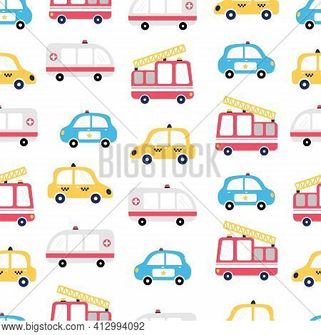 Seamless Pattern With Cars. Fire Truck, Ambulance, Taxi And Police Car. Cartoon Background For Child