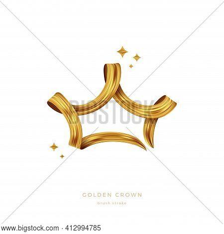 Golden Paint Brush Stroke In The Shape Of Crown. Golden Ribbon. Vector Illustration. Design Element.
