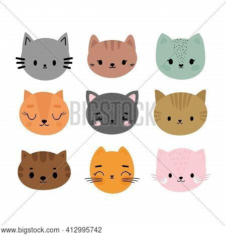 Adorable Cats. Set Of Cute Cartoon Animals Portraits. Fits For Designing Baby Clothes. Hand Drawn Sm