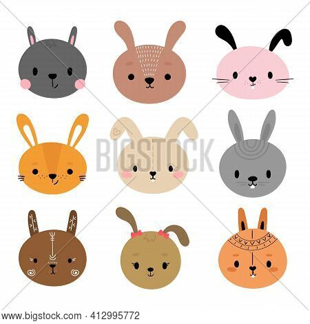 Adorable Rabbits. Set Of Cute Cartoon Animals Portraits. Fits For Designing Baby Clothes. Hand Drawn