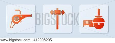 Set Sledgehammer, Leaf Garden Blower And Angle Grinder. White Square Button. Vector