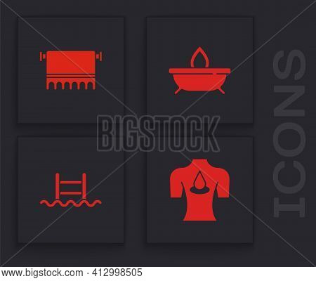 Set Massage With Aroma Oils, Towel On Hanger, Aroma Candle And Swimming Pool Ladder Icon. Vector