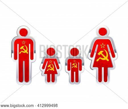 Glossy Metal Badge Icon In Man, Woman And Childrens Shapes With Ussr Flag, Infographic Element On Wh