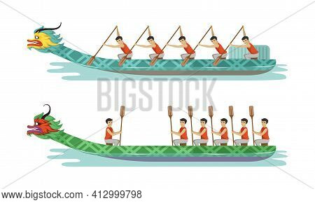 Dragon Boat Festival With Participants Taking Part In Racing Using Paddle Vector Set