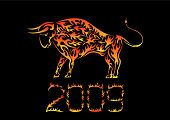 Flaming Chinese ox - symbol of 2009 year poster