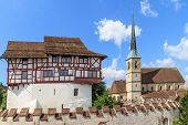 Zug Castle and St. Oswald Church in the city of Zug Switzerland poster