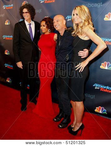 NEW YORK-SEP 11: (L-R) Judges Howard Stern, Mel B., Howie Mandel and Heidi Klum attend pre-show red carpet for