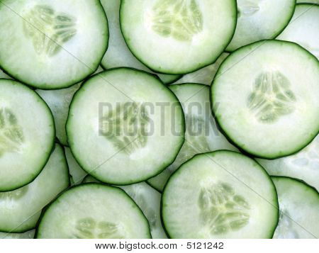 Sliced Fresh Green Cucumber