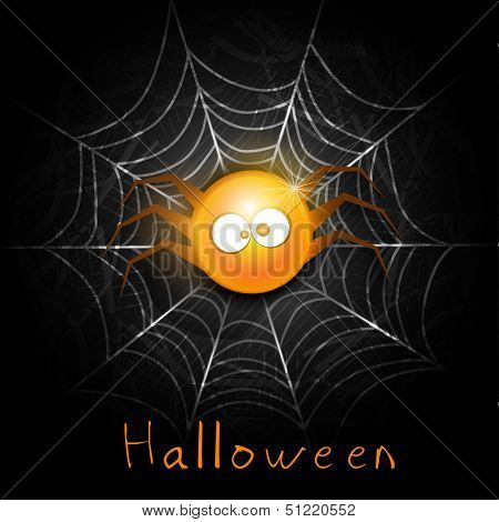 Funny Halloween Party night poster, banner or with cute spider and spiderweb.