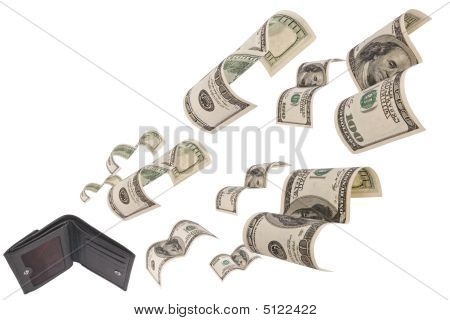Dollars Run Away From Wallet Isolated