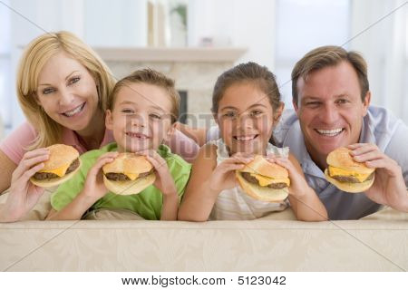 Family Eating Cheeseburgers Together