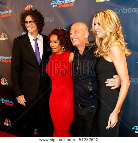 NEW YORK-SEP 17: (L-R) Judges Howard Stern, Mel B., Howie Mandel and Heidi Klum attend pre-show red carpet for