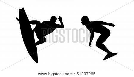 Surfers Silhouettes Set 5