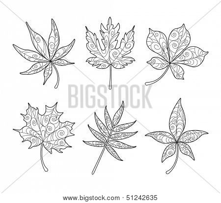 Patterned Maple Leaves in black and white poster