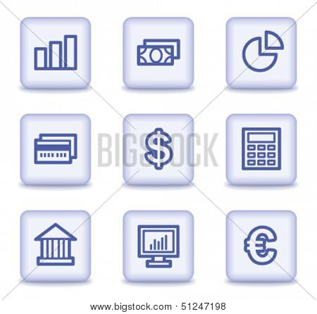 Finance web icons set 1, light violet glossy buttons