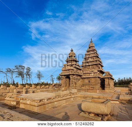Famous Tamil Nadu landmark - Shore temple, world  heritage site in  Mahabalipuram, Tamil Nadu, India poster